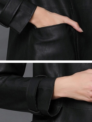 Black Leather Solid Casual Long Sleeve Coat_6