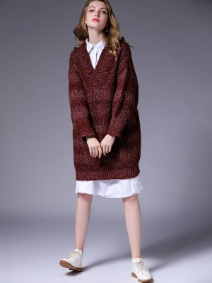 Knitted Casual Long Sleeve Shift Sweater_7