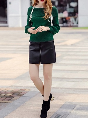 Solid Long Sleeve Casual Shift Sweater_8
