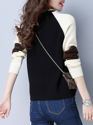 Patch Long Sleeve Casual Crew Neck Sweater_6