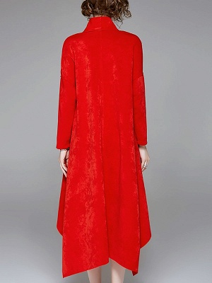 Red Buttoned Asymmetrical Long Sleeve Coat_4