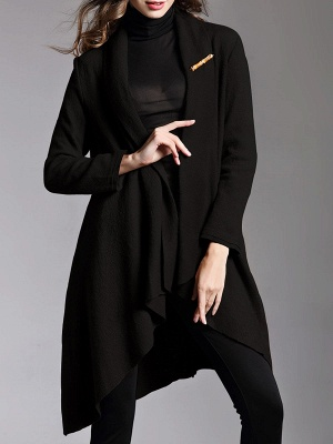 Asymmetric Long Sleeve Casual Coat_2