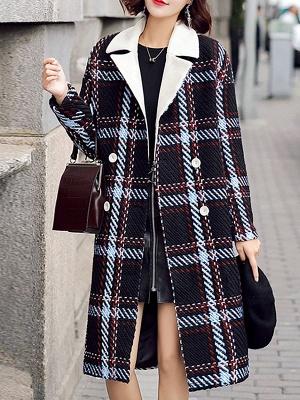 Black Color-block Long Sleeve Shawl Collar Coat_1