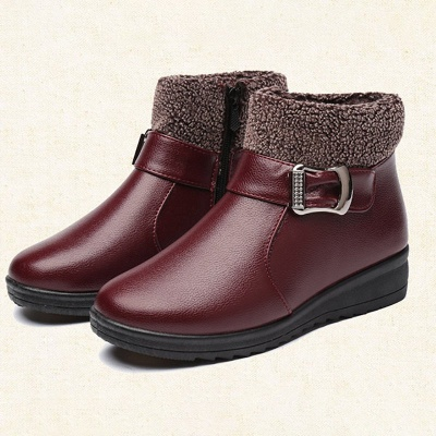 Wedge Heel Daily Zipper Round Toe Buckle Boots_9
