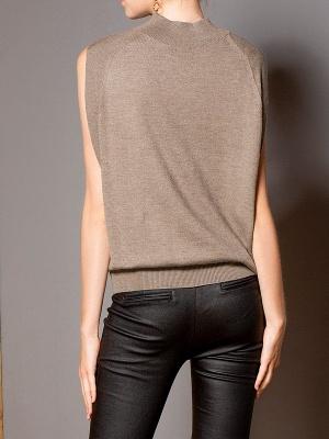 Khaki Solid Turtleneck Casual Sleeveless Shift Sweater_3