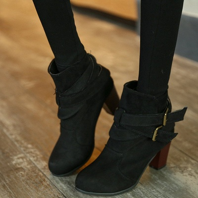 Suede Buckle Chunky Heel Daily Elegant Round Toe Boot_3