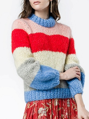 Multicolor Shift Crew Neck Casual Sweater_1