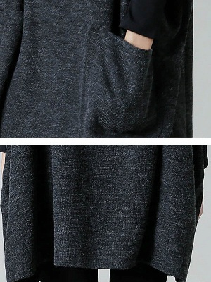 Batwing Cotton Pockets Casual Shift Sweater_7