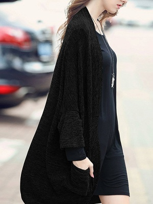 Casual Shift Batwing Pockets Coat_1