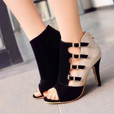 Suede Cone Heel Zipper Lace-up Peep Toe Boots_5
