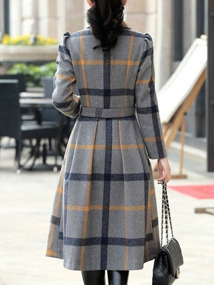 Casual Checkered/Plaid Long Sleeve Spandex Coat_3