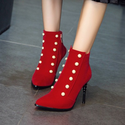 Suede Daily Stiletto Heel Pointed Toe Zipper Boots_7