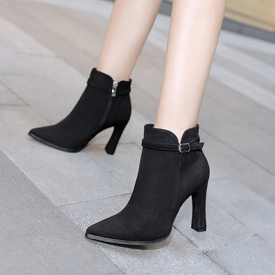 Suede Buckle Chunky Heel Pointed Toe Boot_1