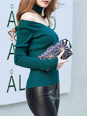 Green Long Sleeve Sheath Solid Sweater_6