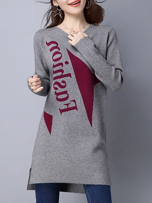Long Sleeve Casual Letter Shift Sweater_4