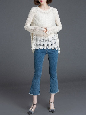 Crocheted Daily Casual Knitted Shift Sweater_13