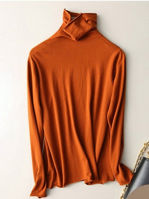 Casual Sheath Turtleneck Long Sleeve Sweater_4