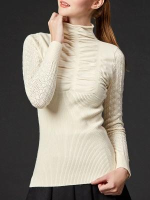 Sheath Long Sleeve Casual Solid Turtleneck Sweater_2