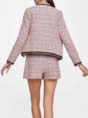 Pink Casual Shift Crew Neck Long Sleeve Paneled Pockets Coat_3
