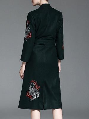 Dark Green Animal V neck Long Sleeve Coat_3
