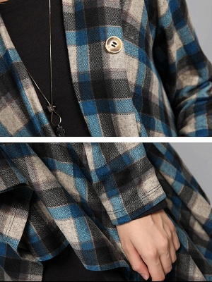 Checkered/Plaid High Low Casual Long Sleeve Coat_7