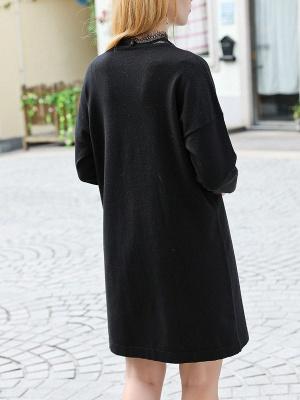 Black Crew Neck Casual Long Sleeve Sweater_3