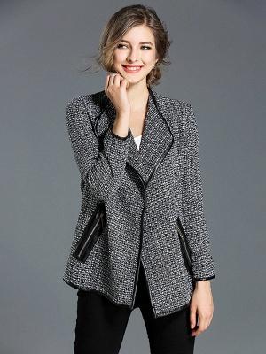 Gray Work Pockets Shift Shawl Collar Long Sleeve Coat_4