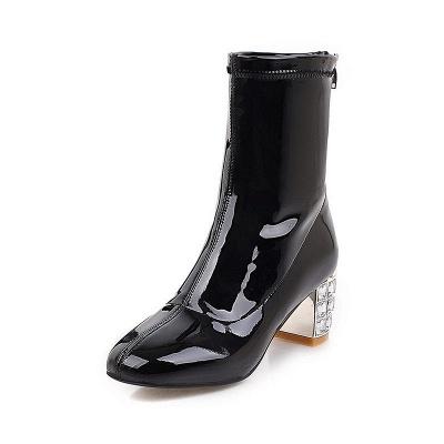 Chunky Heel Zipper Elegant Square Toe Boots_3