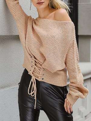 Lace up Long Sleeve Casual Crew Neck Sweater_5