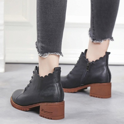 Chunky Heel Zipper Round Toe Lace-up Boots_6