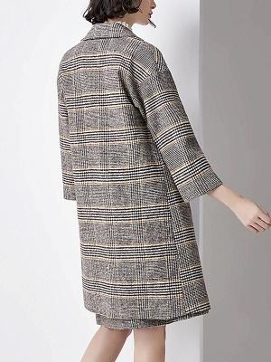 Gray 3/4 Sleeve Pockets Houndstooth Lapel Coat_3