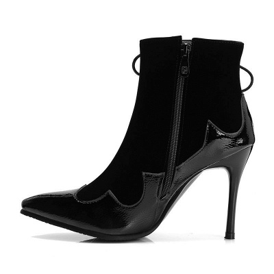 Lace-up Daily Stiletto Heel Zipper Pointed Toe Elegant Boots_10