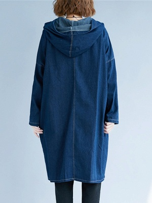 Blue Buttoned Casual Denim Solid Coat_3