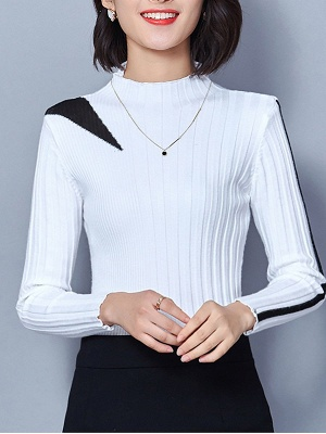 Solid Casual Long Sleeve Turtleneck Sweater_1