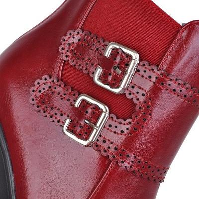 Buckle PU Chunky Heel Round Toe Boot_11