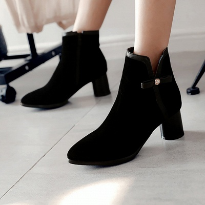 Daily Chunky Heel Zipper Pointed Toe Boots_2