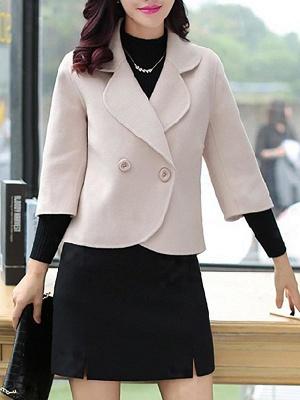 Work 3/4 Sleeve Shift Shawl Collar Buttoned Coat_2