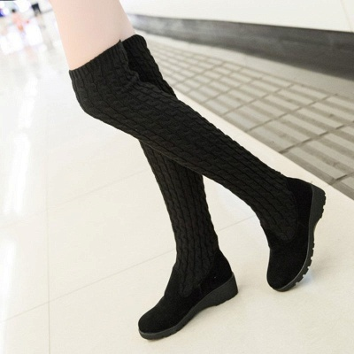 Suede Daily Wedge Heel Round Toe Boot_2