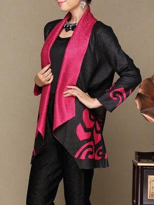 Rose Shawl Collar Long Sleeve Asymmetrical Crinkled Color-block Coat_6
