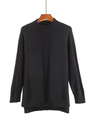 Casual Cable Long Sleeve Crew Neck Sweater_4