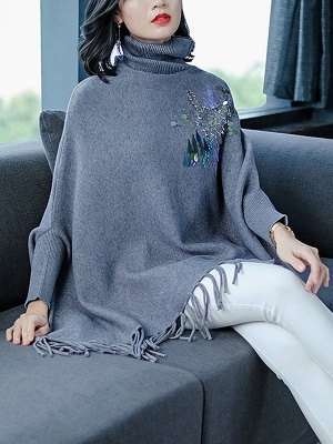 Gray Batwing Casual Fringed Turtleneck Solid Sweater_3