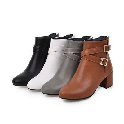 Daily Chunky Heel Buckle Pointed Toe Boots_9