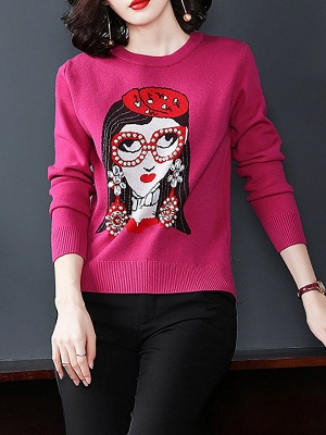 Rose Long Sleeve Beaded Crew Neck Shift Sweater_1