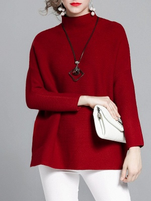 Burgundy Casual Stand Collar Solid Sweater_1