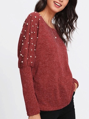 Red Long Sleeve Solid Casual Sweater_3