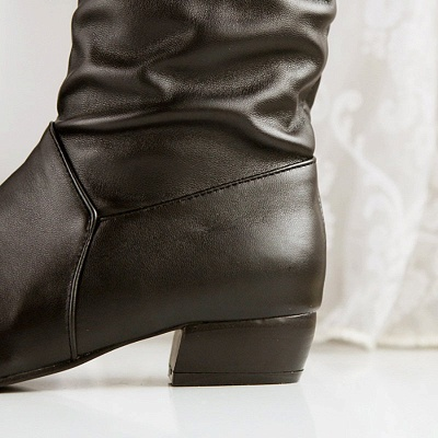 Chunky Heel Daily PU Round Toe Boot_10