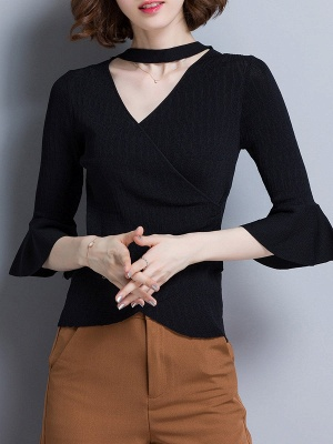 Shift Casual Solid Frill Sleeve Knitted Sweater_3