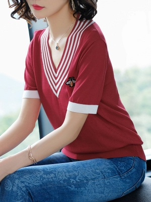 Casual Knitted Short Sleeve V neck Sweater_5