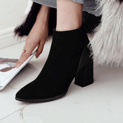 Chunky Heel Suede Elegant Round Toe Boots_7