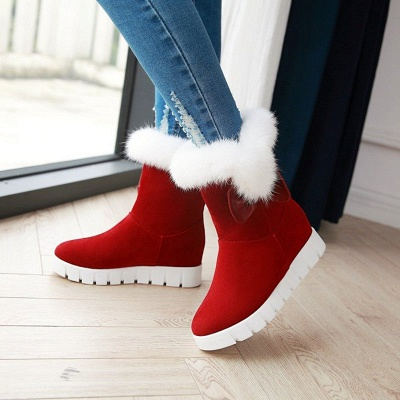 Wedge Heel Suede Fur Round Toe Bowknot Boots_7